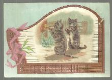 Victorian Trade Card for Bush and Gerts Piano Co with Cats Playing Instruments