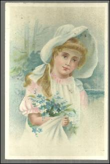 Victorian Trade Card for Vienna Roller Mills Flour, Peoria, Ill With Lovely Girl