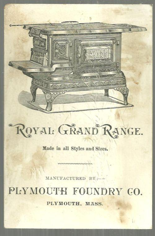 Victorian Trade Card for Royal Grand Range with Landscape and Gold Flowers