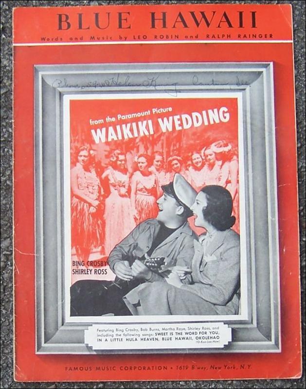 Blue Hawaii From Waikiki Wedding Starring Bing Crosby and Shirley Ross 1937