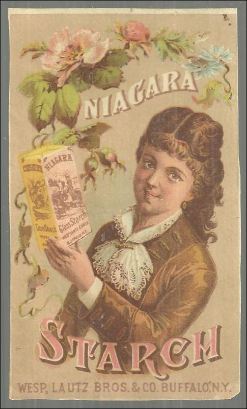 Victorian Trade Card for Niagara Baking Co. With Lovely Lady and Flowers