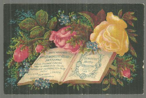Victorian Trade Card Demorest's Illustrated Monthly Reliable Patterns w/Flowers