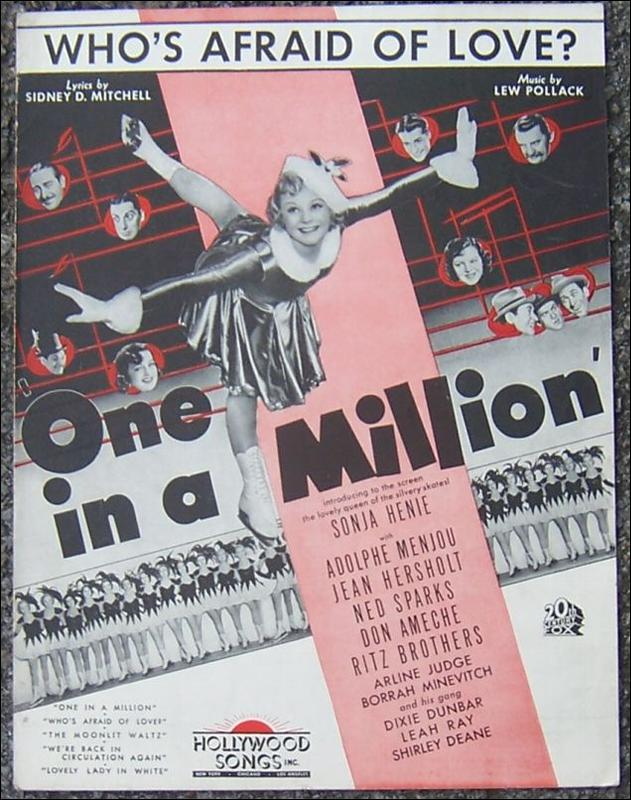 Who's Afraid of Love From One in a Million starring Sonja Henie 1936 Sheet Music