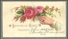 Victorian Reward of Merit with Hand Holding Floral Bouquet and Names