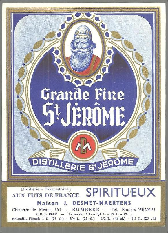 Vintage Label for Grande Fine St. Jerome, France Distillerie St. Jerome