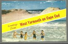 Greetings Postcard From West Yarmouth on Cape Cod with Bathing Beauties