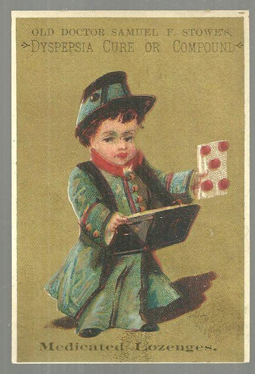 Victorian Card for Old Doctor Samuel Stowe's Dyspepsia Cure with Little Boy
