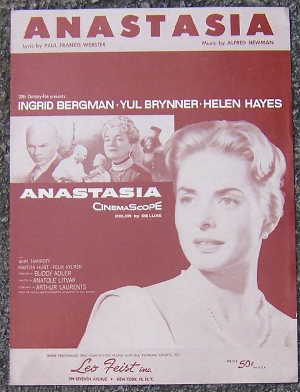Anastasia starring Ingrid Bergman and Yul Brynner 1956 Sheet Music From Movie