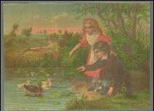 Victorian Print of Little Boy and Girl by Pond Feeding the Ducks