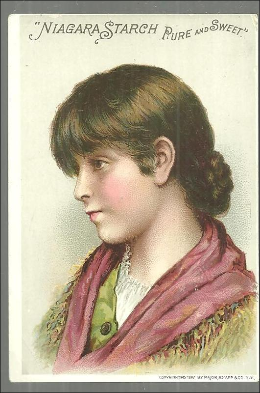 Victorian Trade Card for Niagara Starch, Prue and Sweet with Lovely Girl