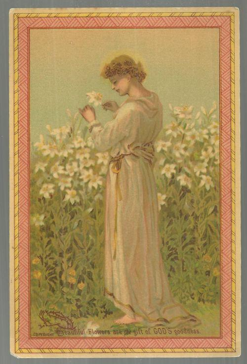 Victorian Picture Card of a Lovely Lady in Garden Beautiful Flowers God's Gift