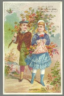 Victorian Trade Card for Geo B. King, Printer, Boston Boy and Girl Autumn