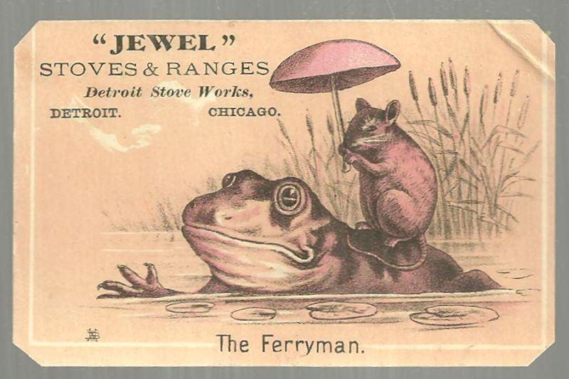 Victorian Trade Card Jewel Stoves and Ranges Detroit Stove Works Frog Ferryman