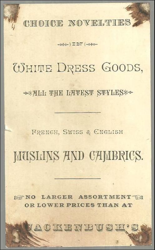 Victorian Trade Card for White Dress Goods at G. U. S. Quackenbush with Heron