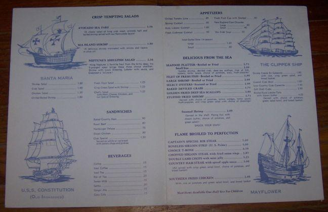 Menu for Sea Captain's House Restaurant and Lodging Myrtle Beach, South Carolina