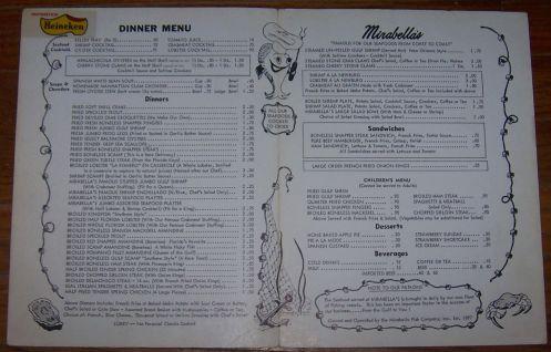 Vintage Menu for Mirabella's Restaurant, Tampa, Florida