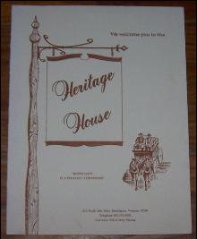 Vintage Menu for Heritage House,  Bennington, Vermont