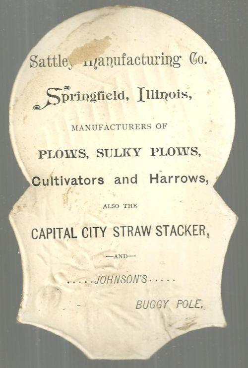 Victorian Die Cut Trade Card for Sattley Manufacturing, Springfield, Illinois