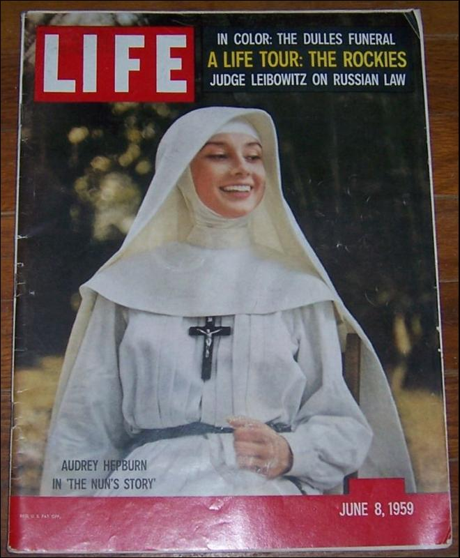Life Magazine June 8, 1959 Audrey Hepburn in The Nun's Story on cover
