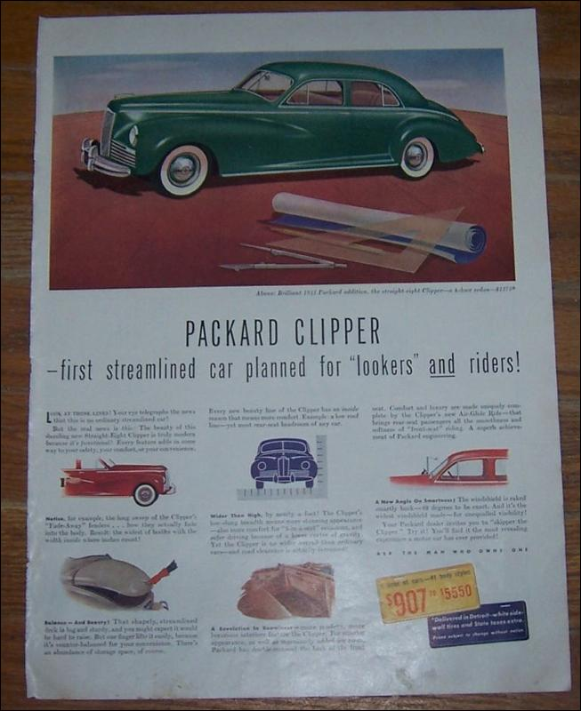 1941 Packard Clipper World War II Life Magazine Advertisement