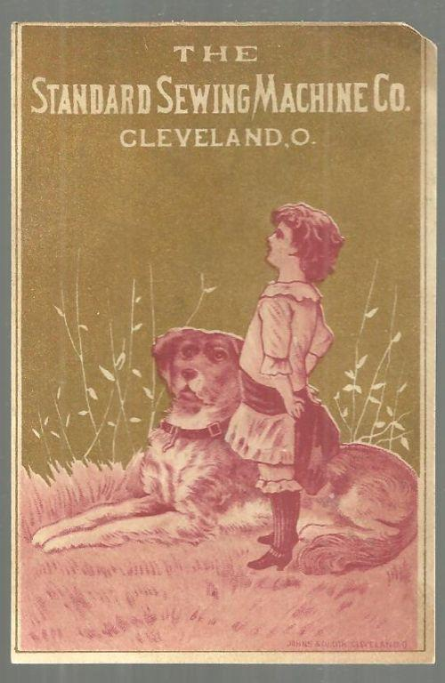 Victorian Trade Card For Sewing Machine Co. Cleveland, Ohio with Boy and His Dog