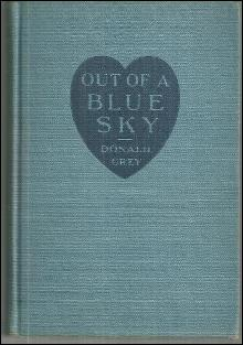 Out of a Blue Sky by Donald Grey 1933 1st edition Vintage Fiction