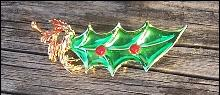 Christmas Enameled Green Leaf Pin with Red Beads