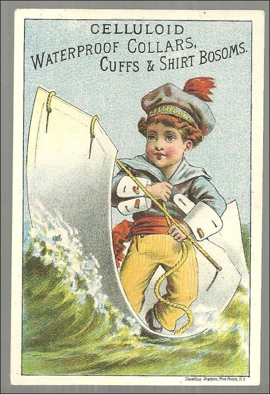 Victorian Trade Card for Celluloid Waterproof Collars and Cuffs with Sailor Boy