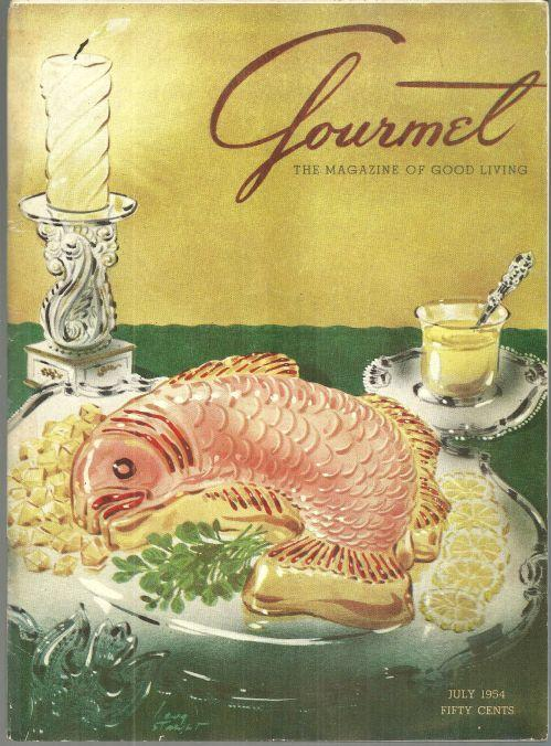 Gourmet Magazine July 1954 Salmon Mousse on Cover