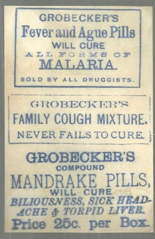 Victorian Trade Card for Grobecker's Fever and Ague Pills With Leafy Scene