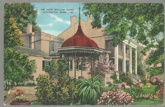 Postcard of Ante Bellum Home, Vicksburg, Mississippi