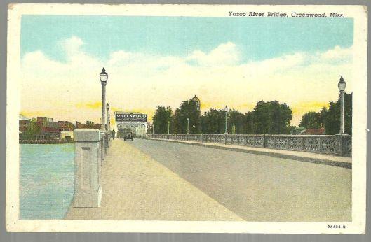 intage Postcard of Yazoo River Bridge, Greenwood, Mississippi