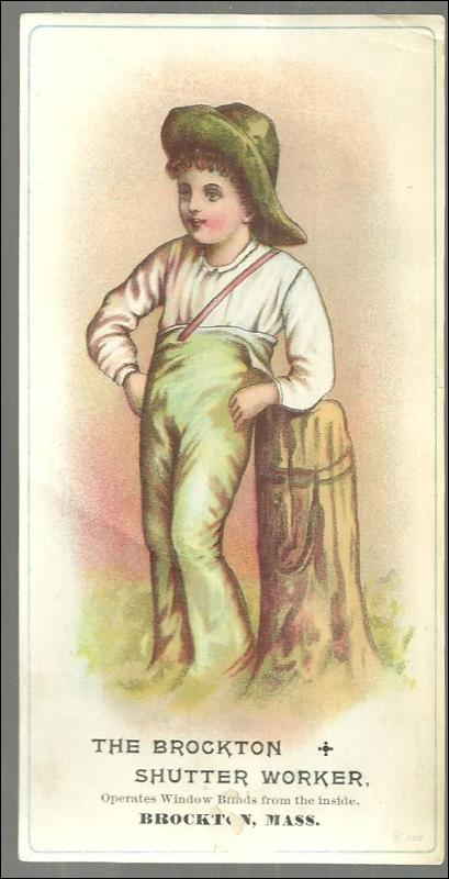 Victorian Card for The Brockton Shutter Worker With Boy Leaning on Old Post