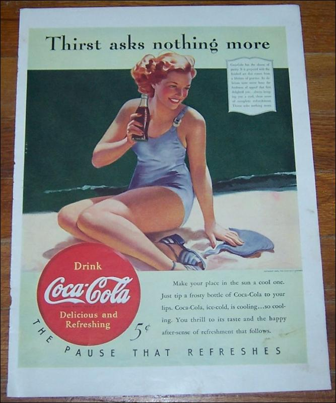 1940 Coke Life Magazine Advertisement w/ Bathing Beauty Thirst Asks Nothing More