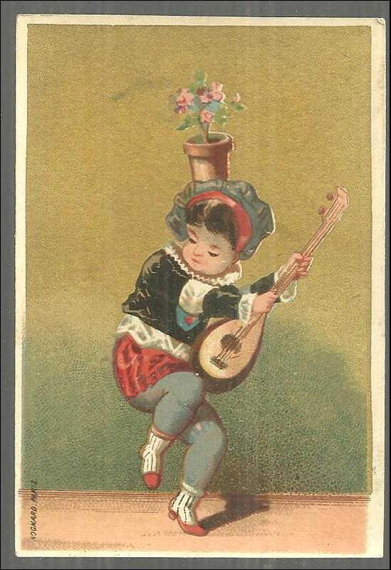 Victorian Card With Dancing Boy with Instrument and Flower Pot on Head