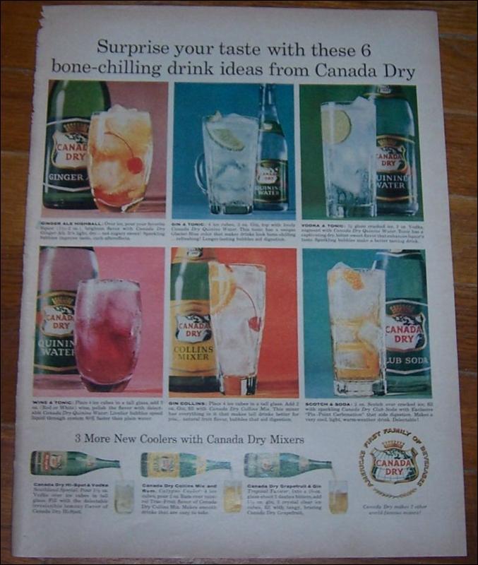 1959 Canada Dry Mixers Magazine Life Magazine Color Advertisement