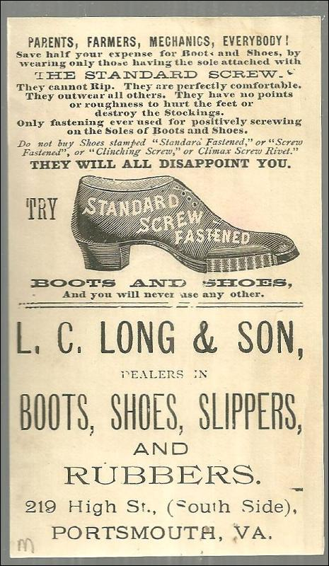 Victorian Trade Card For Standard Screw Fastened Boots and Shoes School Girl