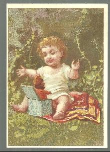 Victorian Trade Card for J. M. Roberts Confectioner w/ Baby Playing Jack in Box