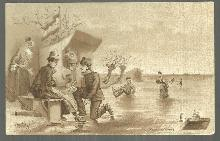 Victorian Trade Card for Cacao Van Houten with Skating Party on Front