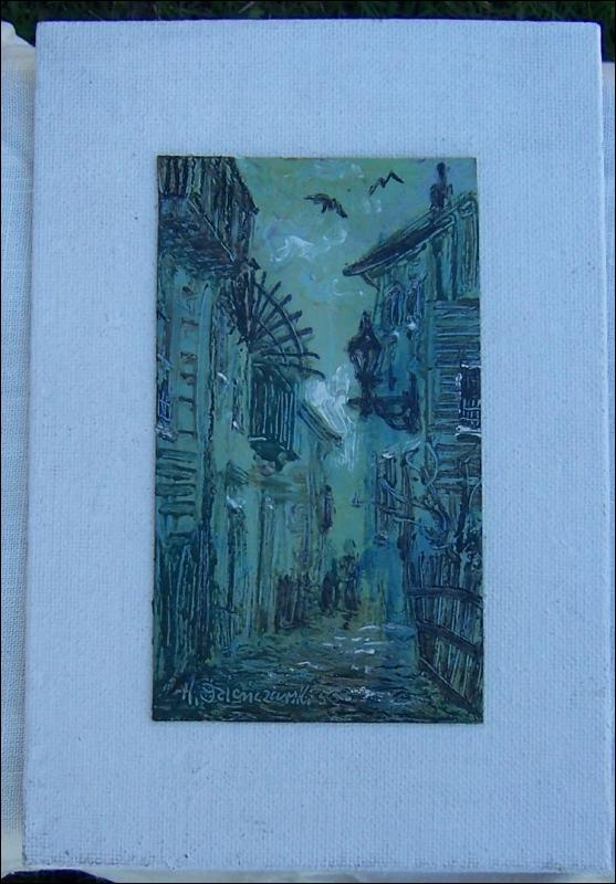 Vintage Signed Matted Green and Black Painting of Street Scene