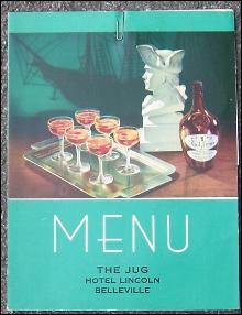 Vintage Menu From The Jug Restaurant, Hotel Lincoln, Belleville, Illinois