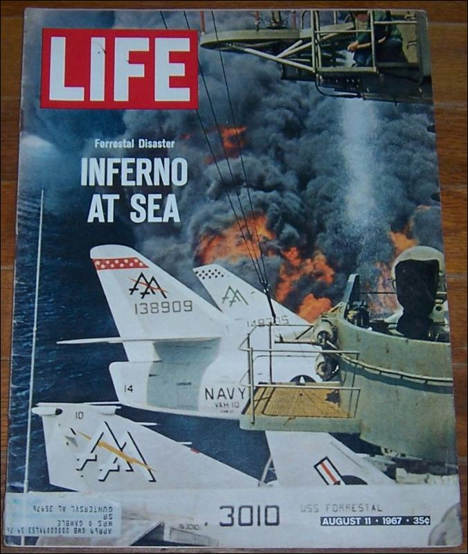 Life Magazine August 11, 1967 Forrestal Disaster, Inferno at Sea on cover