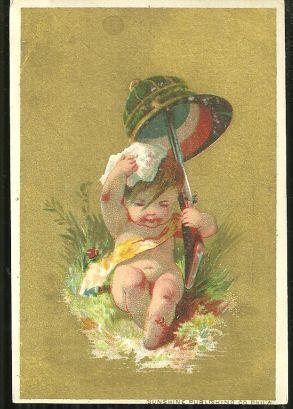 Victorian Card With Little Boy in with Helmet and Gun