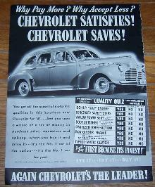 1941 Chevrolet World War II Life Magazine Advertisement Chevrolet Satisfies