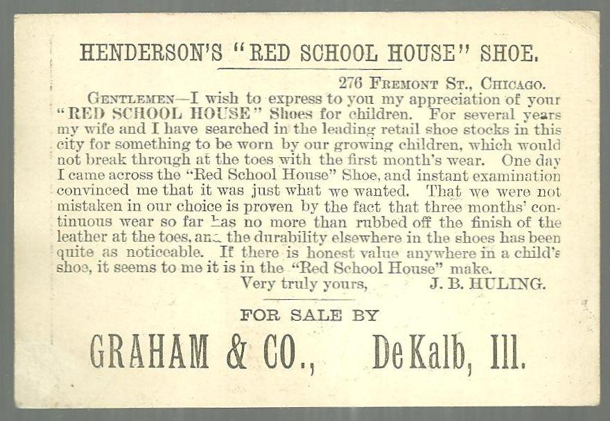 Victorian Trade Card for Red School House Shoes with School Children Playing