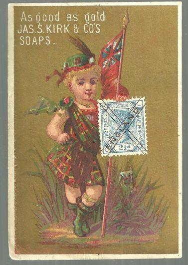Victorian Trade Card For J. S. Kirk Toilet Soaps England Girl As Good As Gold