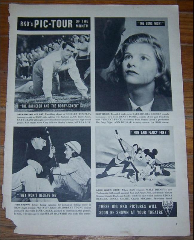 1947 Life Magazine Advertisement for RKO's Pic-Tour of the Month Walt Disney