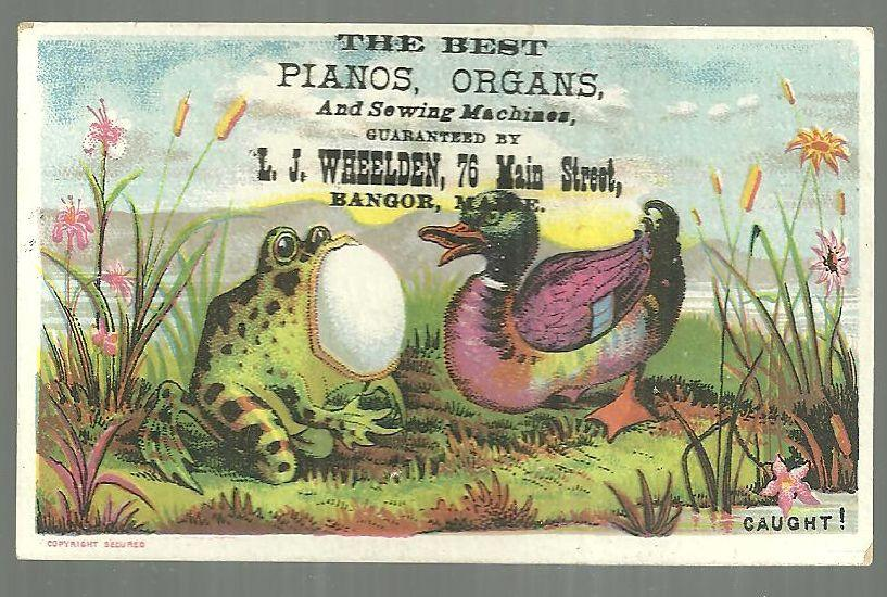 Victorian Trade Card for L. J. Wheelden Pianos With Frog Swallowing Egg w/Duck