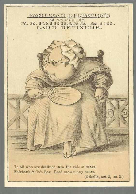Victorian Trade Card For N. K. Faribank Lard Refiners Pig with Shakespeare Quote