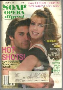 Soap Opera Digest Magazine August 12, 1986 Lily and Holden As the World Turns